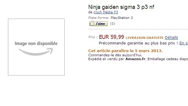『NINJA GAIDEN Σ3』がフランスのAmazonに登場